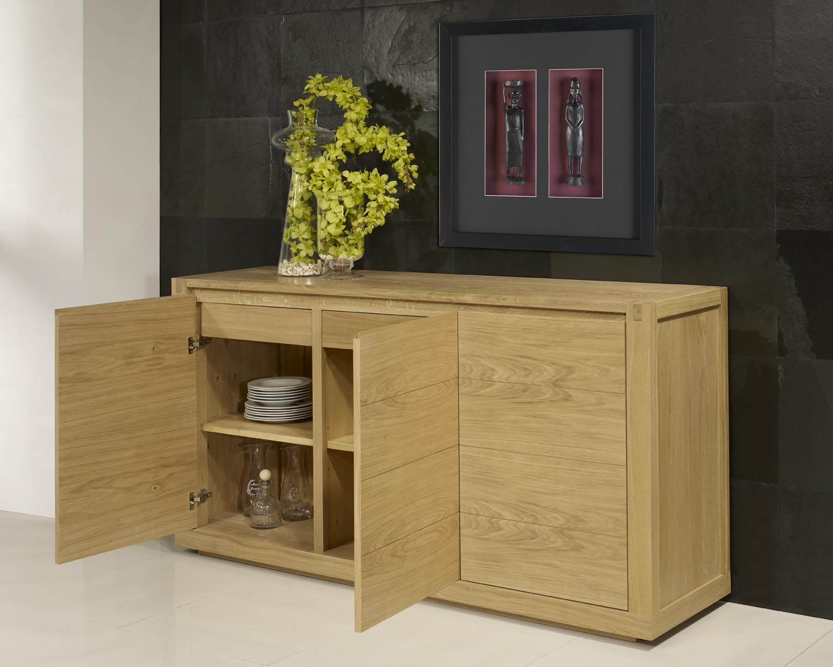 Buffet 3 Portes Mathis En Ch Ne De Style Contemporain Finition  # Meuble Bois Massif Contemporain